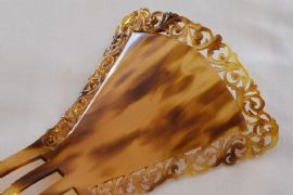 Art Deco Hair Comb - Celluloid Faux tortoiseshell signed: Auguste Bonaz - French circa 1920 - 1930 (SOLD)
